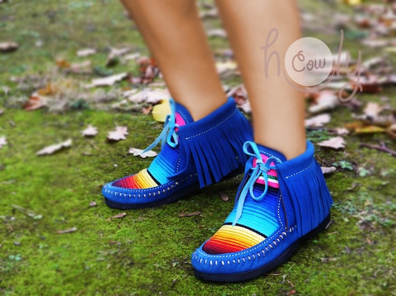Blue Mens Boots Blue Cowgirl Boots Moccasins Serape Moccasins Womens Boots Moccasins Leather Moccasins Moccasins Boots Blue Womens xFqPaw8p