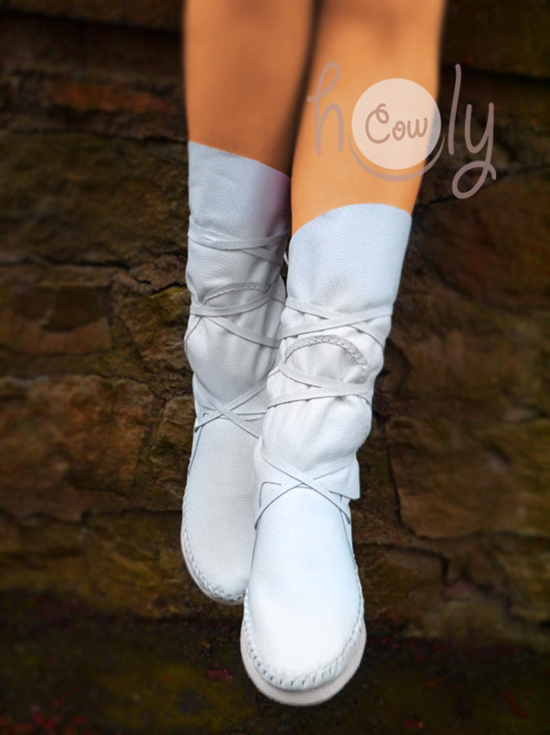 dd01b161881 Hand Stitched White Leather Moccasins, White Moccasin Boots, Womens  Moccasins, Leather Moccasins, Leather Boots, Womens Boots, Wedding Boots