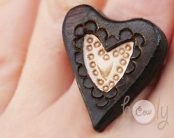 Handmade Adjustable Leather Heart Ring, Heart Ring, Leather Ring, Brown Leather Ring, Women's Leather Ring, Boho Ring, Gift For Her, Hippie