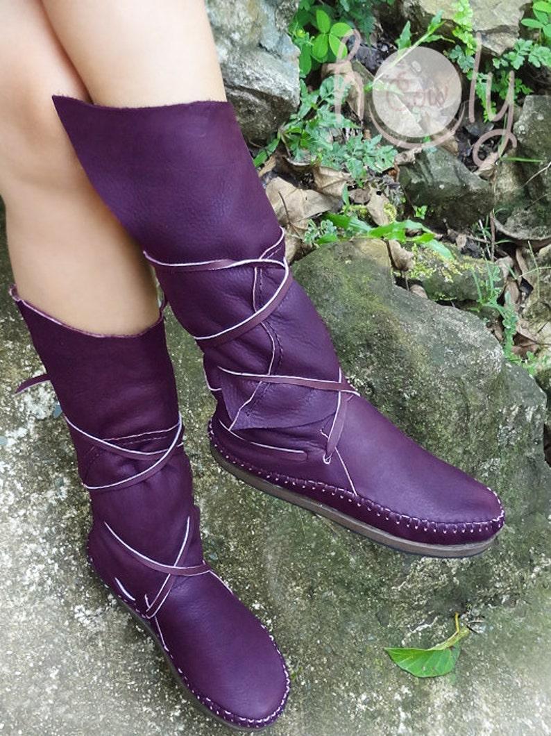 Purple Leather Moccasins Moccasins Women Moccasins image 0