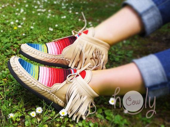 bottes mocassins bottes Beige femmes mocassins Womens cuir beige Cuir bottes Serape Beige Serape Hippie mocassins homme en pour pour Beige nxYUq8X