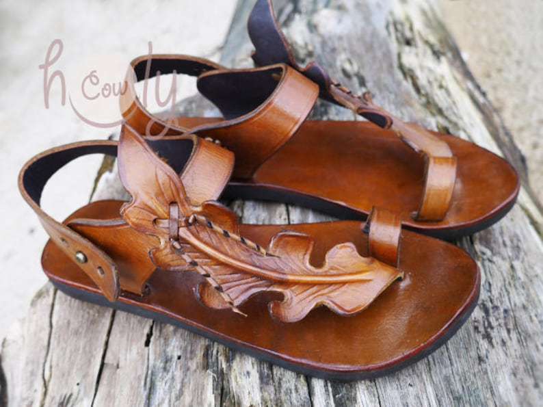 aced9bb5b Handmade Brown Leather Leaf Sandals Womens Sandals Leather