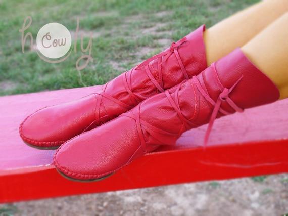 Mokassin, rote Mokassins, Mokassin Stiefel, Damen Mokassins, Leder Mokassins, Lederstiefel, Herren Mokassins, Damen Stiefel, rote Lederstiefel