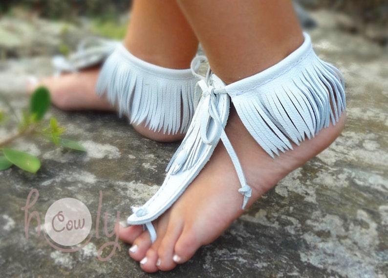 Blanco sandalias de cuero de pies descalzos sandalias de  749c6779d6e7