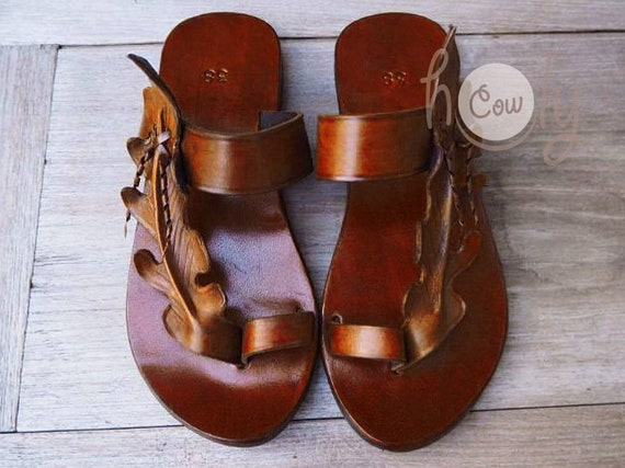 Womens Sandals Leaf Sandals Leaf Sandals Boho Cowgirl Women Sandals Leather Sandals Brown Sandals Hippie Sandals Leather Handmade I0qE77