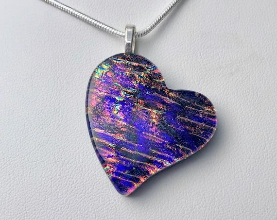 Dichroic Glass Offset Purple Heart Pendant