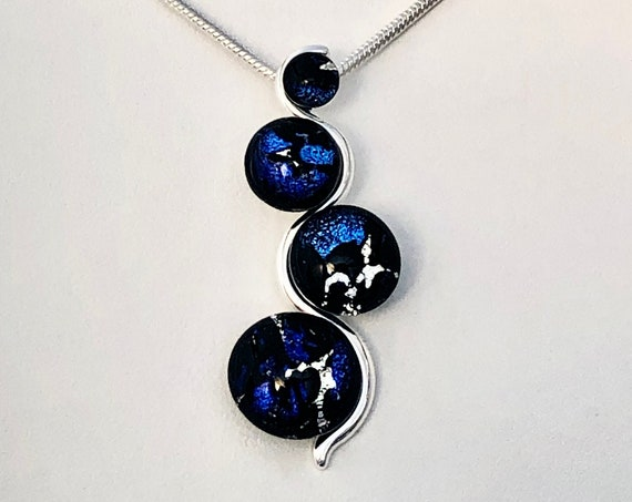 Dichroic Glass Sterling Silver Pendant w/ Chain