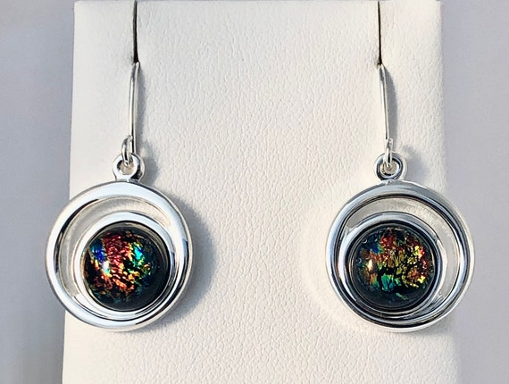 Dichroic Glass Hanging Earrings with Sterling Silver