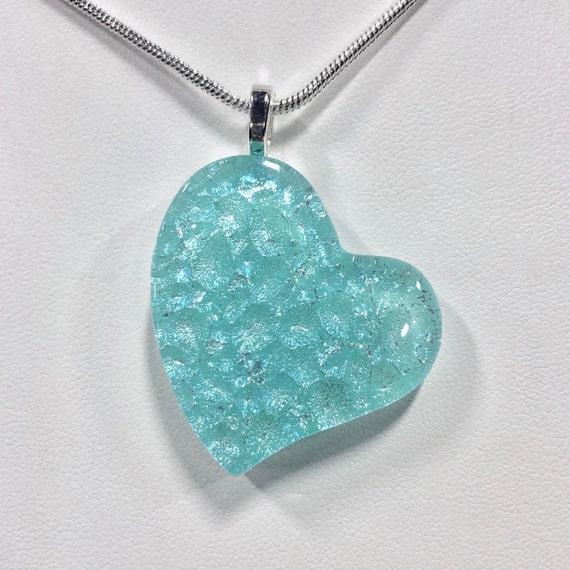 Dichroic Fused Glass Aqua Heart Pendant