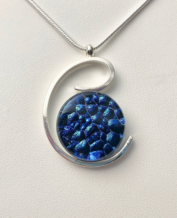 Dichroic Glass Sterling Silver Pendant