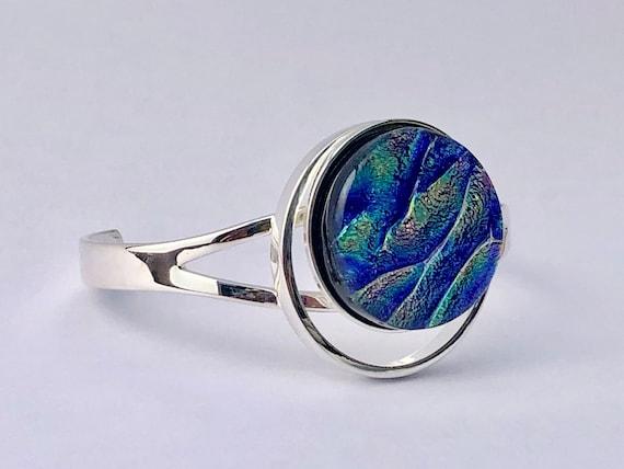 Dichroic Glass Sterling Silver Bracelet