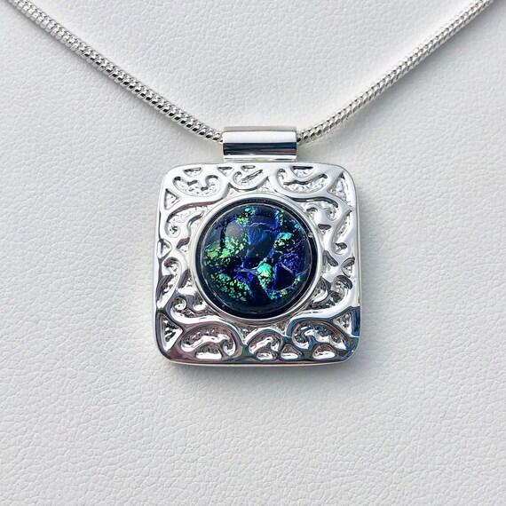 Dichroic Glass Silver Pendant