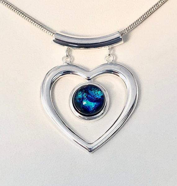 Dichroic Glass Silver Heart Pendant w/ Chain