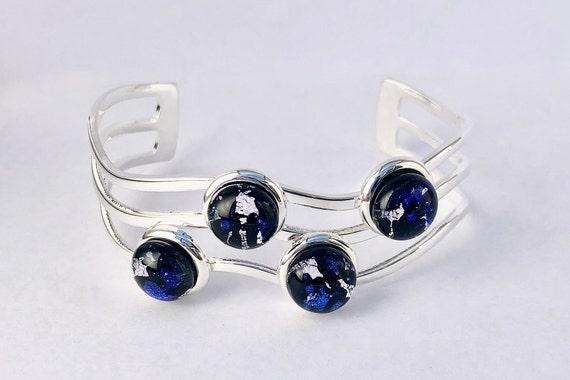 Dichroic Glass Sterling Silver Cuff Bracelet
