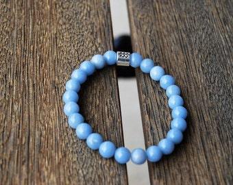 Aquarius Angelite Zodiac Mala Bracelet / Hippie Bracelet / Yoga Bracelet