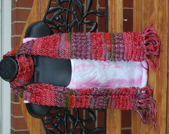 Hand-Knitted Peace Scarf  in Red, Purple, Berry, Pink, and Green