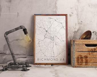 Line Map Printable - Richmond, VA
