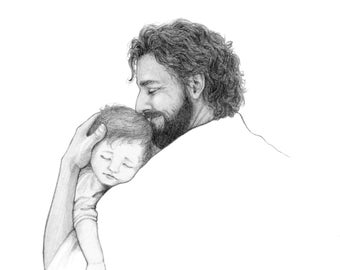 Jesus holding sleeping child / pencil drawing print