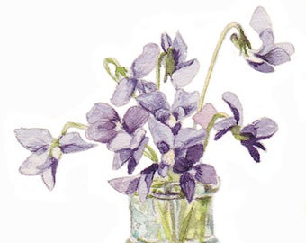 """Violets in Glass Bottle watercolor painting -- 5 x 7"""" Print"""
