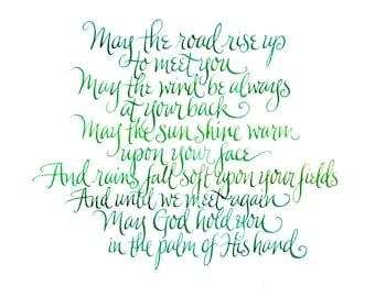 Irish Blessing handwritten calligraphy print