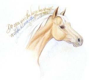 """Palomino horse watercolor / calligraphy quote -- 7 x 5"""" Print"""