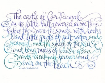"""The Beach by Cair Paravel hand lettered C.S. Lewis quote -- 7 x 5"""" Print"""