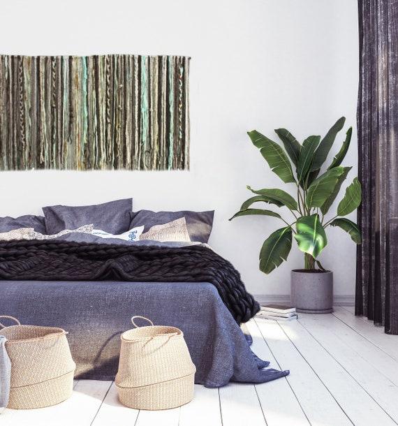 Chunky Macramé Colgante De Pared En Verde Azulado Decoración del hogar