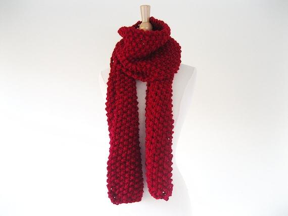 Tricot Echarpe fait main surdimensionné, rouge tricotée écharpe écharpe en  laine, écharpe tricotée à la main 3f539543e14