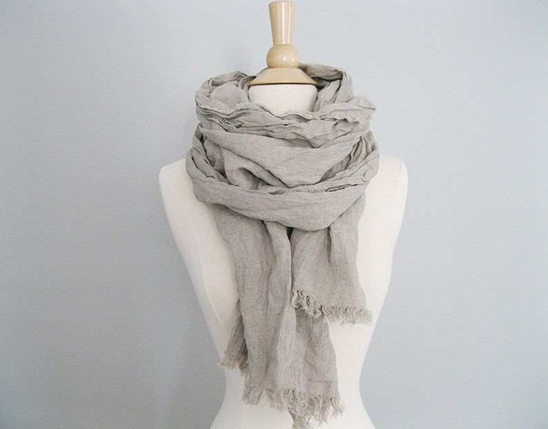4773e86fef6 Softened Linen Scarf, Natural Linen Scarf, Linen Gift, Linen Shawl, Summer  Scarf Women, Womens Linen Scarf Shawl