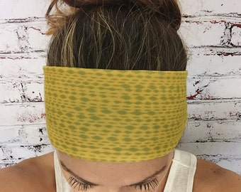 Mottled Golden Yellow & Mossy Green - Eco Friendly Yoga Headband