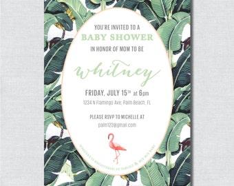 Banana Leaf Flamingo Baby Shower Invitation - Digital File