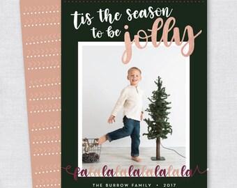 Rose Gold Fa La La Holiday Card - Printable File