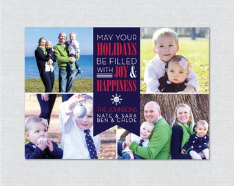 Joy & Happiness Photo Holiday Card - Printable File
