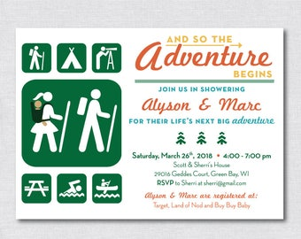 The Adventure Begins   Rustic Camping/Hiking/Park BABY Shower