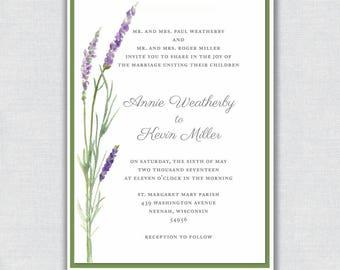 Rustic Spring Lavender Wedding Invitation Suite - Including invitation, rsvp postcard, and information cards - Digital Printable Files