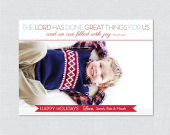 The Lord Has Done Great Things Photo Holiday Card - Printable File