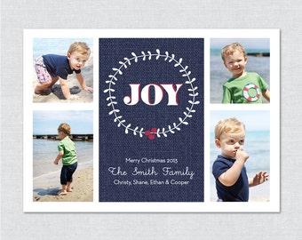 JOY Photo Holiday Card - Printable File