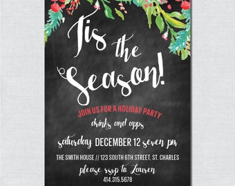 Chalkboard Watercolor Holiday Party Invitation - Digital File