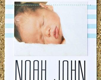 Hand Sewn Photo Birth Announcement - Aqua Stripes