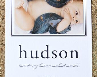 Hand Sewn Photo Birth Announcement - Preppy Blue