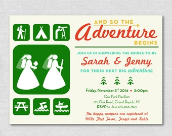 """Lesbian - Two Brides  """"And So The Adventure Begins""""   Rustic Camping/Hiking/Park Bridal Shower"""
