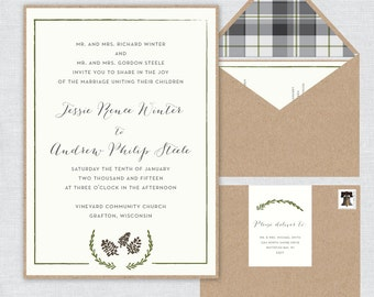 Rustic Winter Wedding Invitation Suite - Including invitation, rsvp card and information card - Digital Printable Files