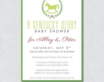Kentucky Derby Baby Shower Invitation - Digital File
