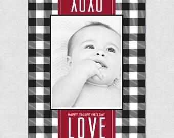 Custom Gingham Photo Valentine - Printable File