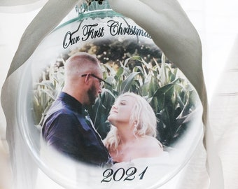 First Christmas Married 2021, picture ornament, Round glass ornament with photo, First married Christmas keepsake ornaments, Mr & Mrs globe