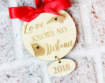 across the miles christmas ornaments long distance relationship love knows no distance christmas gift military family deployment