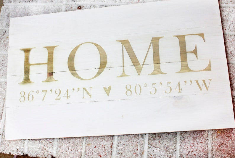 Large Home Sign With Coordinates Rustic Home Decor Pallet Etsy