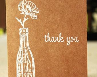 Rustic Thank You Card, Kraft Thank You Card, Wedding Thank You, Shabby Chic Thank You Card, Blank Thank You Card, Thank You Card Set of 5