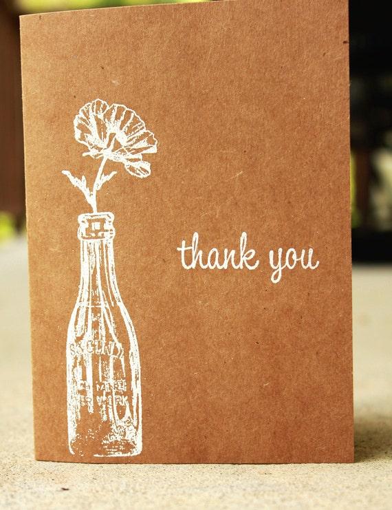 Rustic Thank You Card Kraft Thank You Card Wedding Thank Etsy