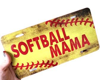 Softball Mama License Plate, Front softball mom vanity plate, Custom License Plate, Softball car plate, Little League Softball vanity plate